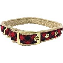 Bow & Arrow Pet Holiday Dog Collar, Checkered Red Plaid Buffalo Dog Collar, Large