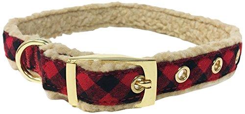 Bow & Arrow Pet Holiday Dog Collar, Checkered Red Plaid Buffalo Dog Collar, Small
