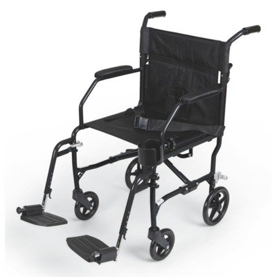 Medline MDS808200SLKR WHEELCHAIR, TRANSPORT, ULTRALIGHT, BUR, RTL, Black