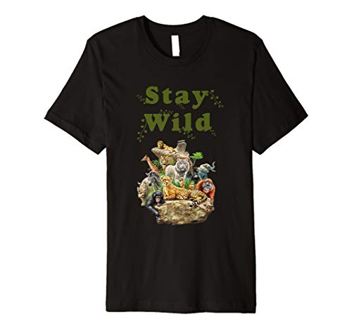 Stay Wild African Animal Jungle Safari T shirt ()