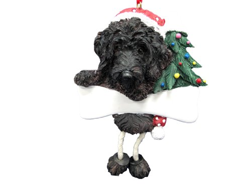 Labradoodle Ornament Black with Unique ''Dangling Legs'' Hand Painted and Easily Personalized Christmas Ornament by E&S Pets