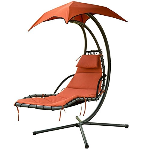 PatioPost Outdoor Hanging Chaise Lounger Chair Swing Hammock Arc Stand Air Porch Canopy, Orange Red