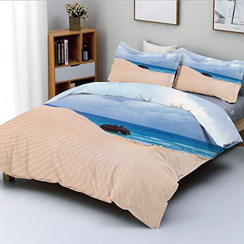 Duplex Print Duvet Cover Set Queen Size,Boat Crash by Exotic Tropical Beach in African Shore Dream Atlantic Ocean PhotoDecorative 3 Piece Bedding Set with 2 Pillow Sham,Blue Cream,Best Gift For ()