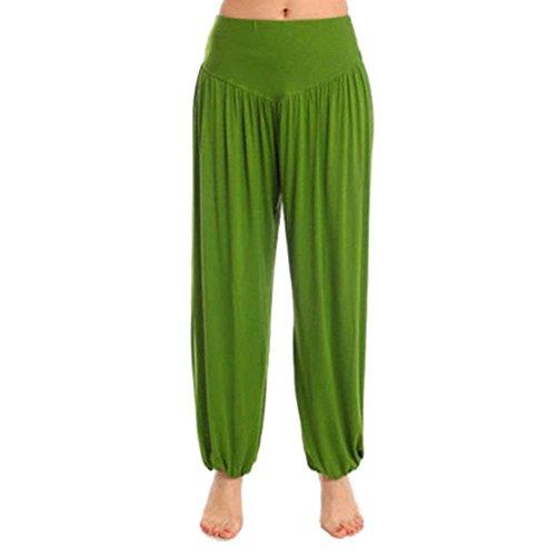 Large Jeune Gras Gratuit Printemps Été Femmes Femme Pantalon Long Harem Milieu Élasthanne Jolie Pantalons Yoga Multicouche grün Élégantes Bonita Unie Taille Couleur wRfqq6zA
