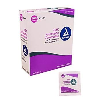 Dynarex - Guantes sanitarios bzk antiséptico Towelette - 100 Count: Amazon.es: Salud y cuidado personal