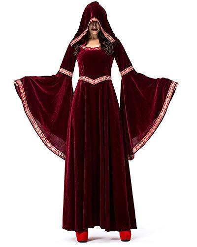 LY-VV Women Renaissance Medieval Costume Victorian Retro Gown Floor Length Dress (L, Wine -