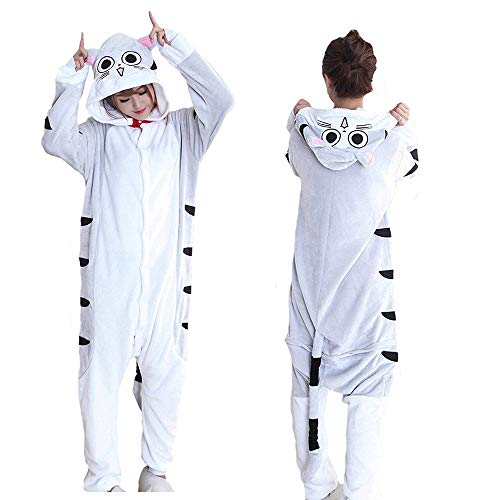 MGOGO Animal Kigurumi Cosplay Pajamas Costume, Chi's Cat Onesie Fleece Cartoon Sleepwear Cosplay Holloween Costume Unisex (L) -