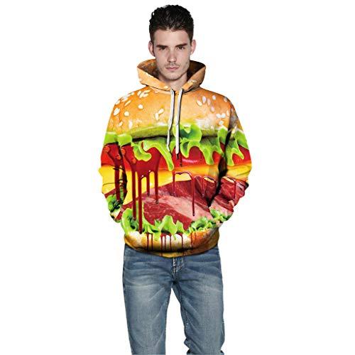 iHHAPY Halloween Hoodie Unisex Sweatshirt Long Sleeve Pullover Women Men Tops Novelty Pattern Sweatshirts 3D Print Scary (Tri Schwarz)