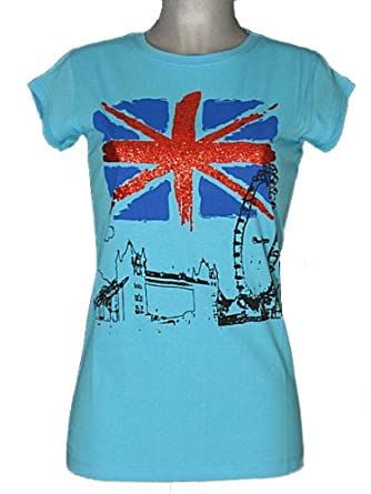 508b5f230 Womens Union Jack Flag T Shirts Ladies Glitter Tops Great Britain Bling T  Shirts (M, Blue): Amazon.co.uk: Clothing