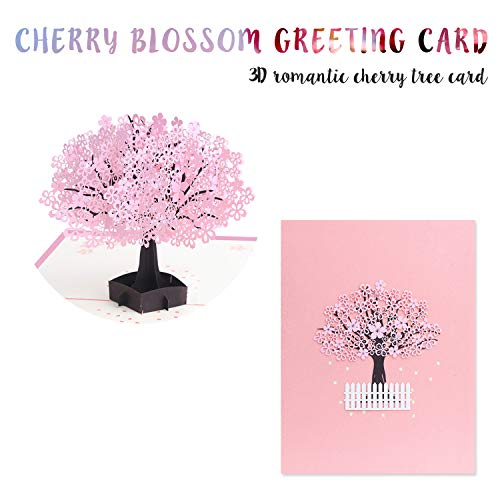 Pink Romantic Cherry Blossom 3D Pop Up Card with Extra Note Card, Tree Card Blossom Card for Birthday Mother's Day Thanksgiving Day Valentine's Day Festivals and Celebration