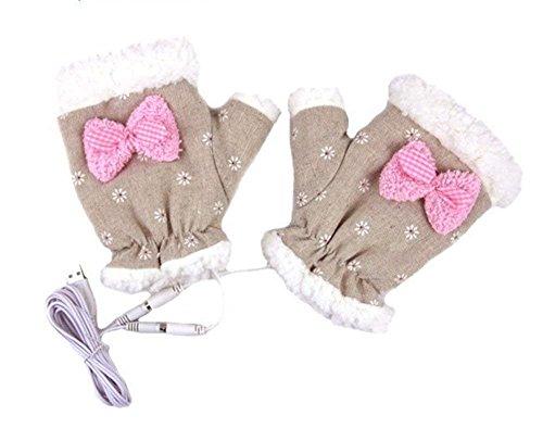 Laptop Gloves Winter Fingerless USB Handwarmers USB Heated Half Finger Women Hand Warmer Gloves Christmas Gift - Wired by COJOY (Image #4)