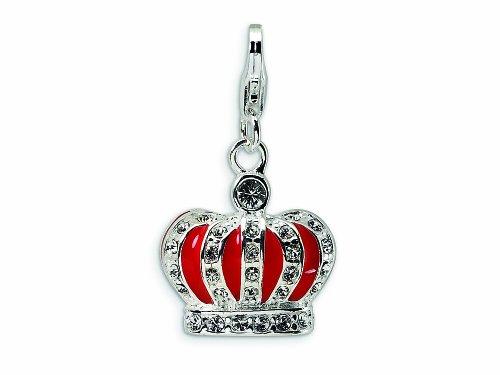 Amore LaVita 3-D Swarovski Crystal and Enameled Red Crown Lobster Clasp for Charm Bracelet ()