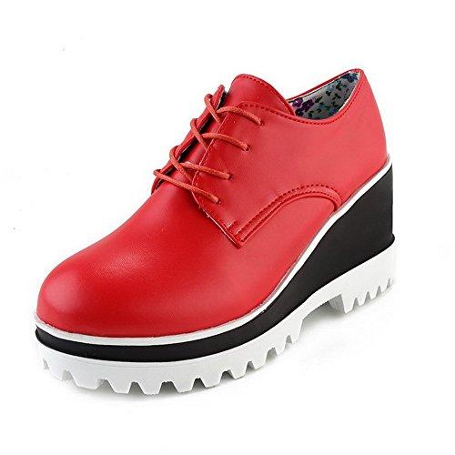 Rotonda Pompe Punta Chiusa Pu Delle Tacchi scarpe Weenfashion Stringate Donne Alti Rosso Solide gSSdwx