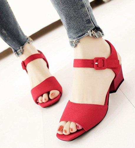 Aisun Simple Bout Ouvert Boucle Sangle Cheville Robe Bloc Moyen Talons Sandales Chaussures Rouge