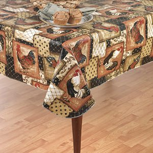Vintage Rooster Flannel Back Vinyl Tablecloth, 70u0026quot; Round [Kitchen]