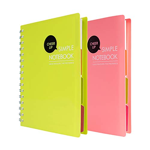 (Cheer Up Spiral Notebook College Ruled, A5 Notebooks 4 Subject with Dividers, 2 Pack (Pink +)