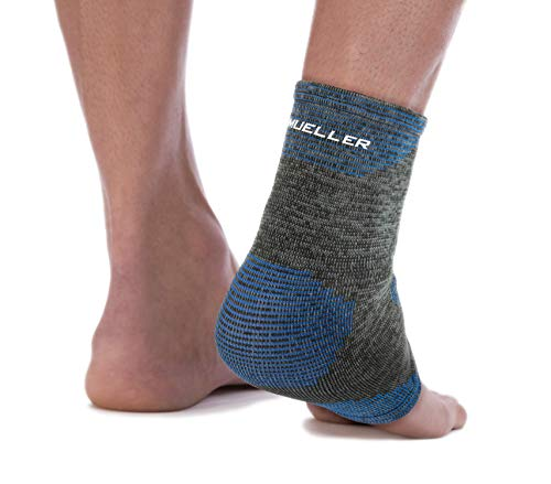 Mueller 4-Way Stretch Black & Blue Premium Knit Ankle Support with Thermo Reactive Technology, Large/Extra Large,