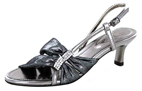 Helens Heart Microfiber Kit Heel Formal Shoes FS-2091-1 (8, Gun Metal)