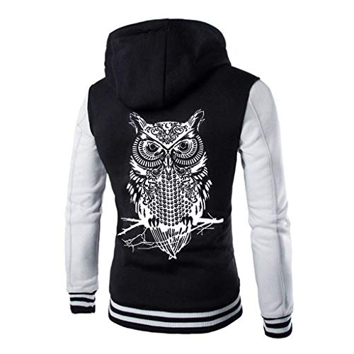 (HULKAY Plus Size Hooded Jackets for Men Upgrade Long Sleeve Owl Print Patchwork Button Jacket Thick Outwear)
