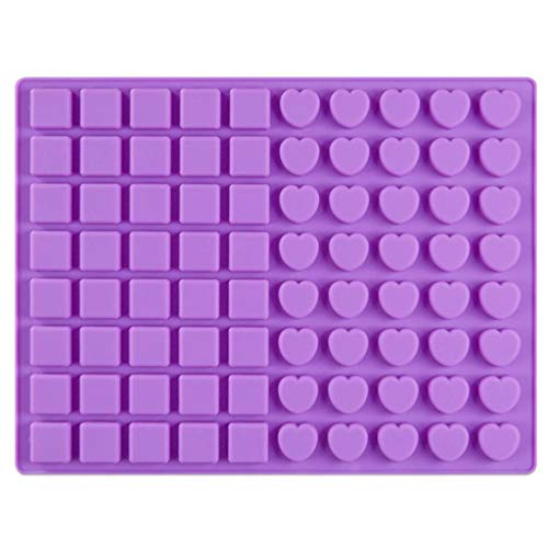 aliveGOT 80-Cavity Square and Heart Shaped Mini Brownie Silicone Mold for Chocolate Truffles, Ganache, Jelly, Candy, Pralines, and Caramels