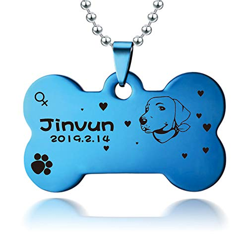 Blue Dog Tag - Jinvun Dog Tags for Dogs Engraved | Stainless Steel Pet Id Tags, Personalized Dog Tags | [ New Version ] [ Dog Head Portrait ] (Large, Blue)