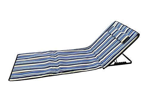 🥇 Pincho Esterilla de Playa Plegable portátil con Respaldo Ajustable y reposacabezas 145x47x50cm Bolsillo de Almacenamiento