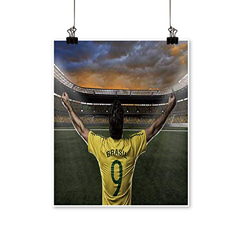 - Canvas Prints Artwork Brazilian Soccer Player,Celebrating with The Fans. Artwork Wall,24