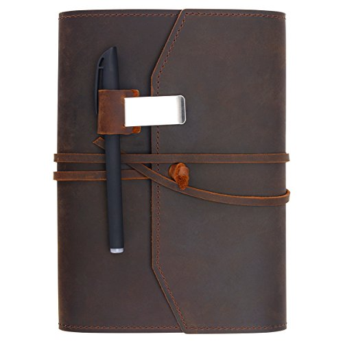 Refillable Leather Journal Writing Notebook - Lay Flat Blank Notepad 100 Sheets, Handmade Leather Bound Diary with Inner Pockets, Pen & Pen Holder, 100gsm Thick Paper, A5 Size (Holder Refillable Notepad)