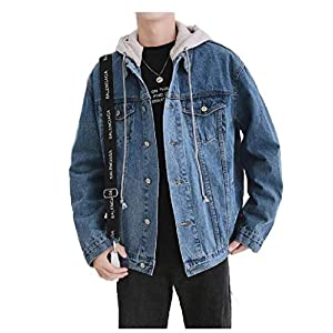 Men's  Hooded  Denim Trucker Jacket Coat