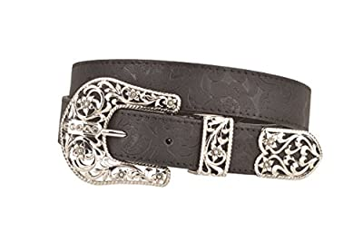 Womens Black Western Floral Leather Belt with Three Piece Filigree Buckle