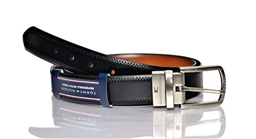 (Tommy Hilfiger Reversible Leather Belt - Casual for Mens Jeans with Double Sided Strap and Silver Buckle, black/tan stitch, 40)