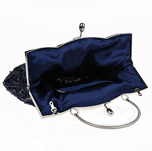 For Crossbody Bag Handbag KING Purse Clutch Shoulder Dress MIMI Evening Blue Women Retro Handmade Dinner PRCnqX