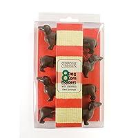 Charcoal Companion Dog Corn Holders (8 piezas) - Regalo perfecto para los amantes del Dachshund - CC5009.