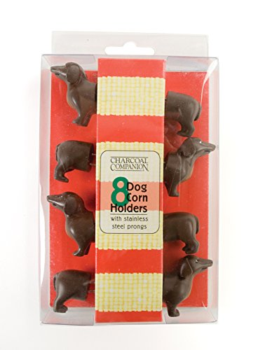 Charcoal Companion Dog Corn Holders (8 Pieces) - Perfect Gift For Dachshund Lovers - - Holders Cob Corn 8
