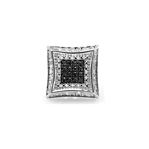 Dazzlingrock Collection 0.08 Carat (ctw) 10K Round White & Black Diamond Micro Pave Kite Stud Earring (Only 1pc), White Gold
