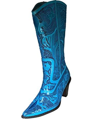 Johnfashion Vrouwen Midden Van De Kuit Pailletten Kralen Geborduurd Cowgirl Laarzen Blauw