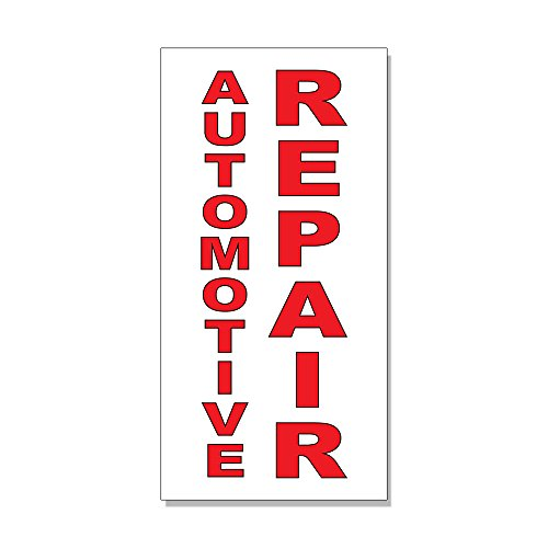 Automotive Repair Red Auto Car Repair Shop DECAL STICKER Retail Store Sign -14.5 x 36 inches