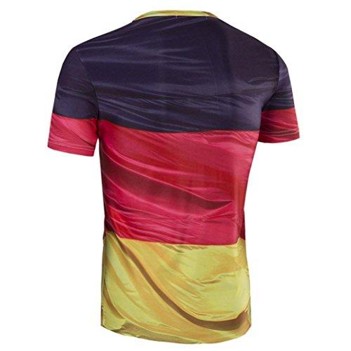 Herren Bluse Oyedens Mode Herren Deutsche Flagge Drucken DüNne Passform Casual Kurze ÄRmel T-Shirts