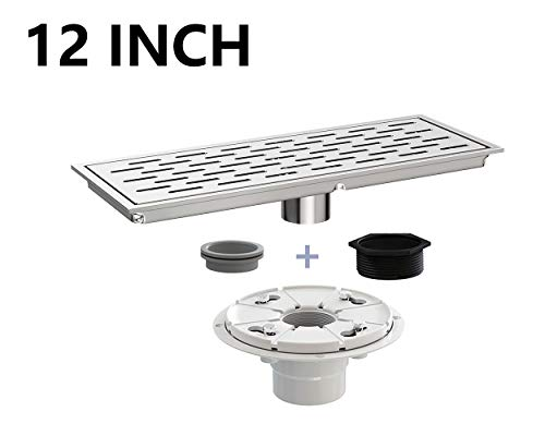 Ushower 12 Inch Rectangular Linear Drain with Drain Base Flange 2 Inch Outlet, Brick Grate Linear Floor Drain Brushed Nickel with Threaded Adapter, Rubber Coupler, Hair Strainer for Bathroom Kitchen