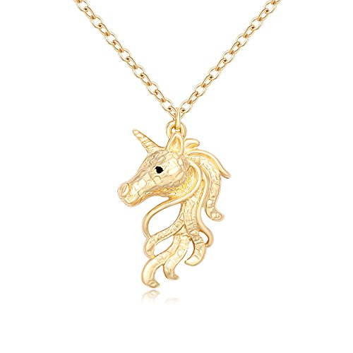 Gold Unicorn Charm - TUSHUO 3 Colors Plating Dainty Unicorn Necklace Best Unicorn Jewelry Gift for Unicorn Lover (Gold)