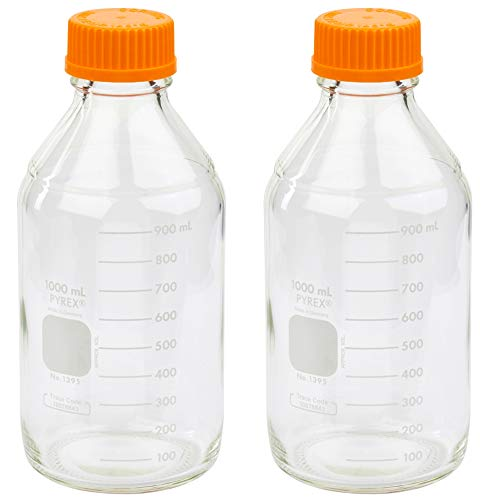 Corning PYREX #1395-1L, 1000ml Round Media Storage Bottle, with GL45 Screw Cap (Pack of 2)