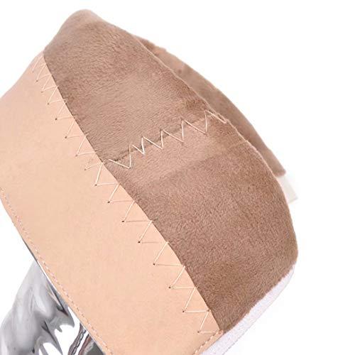 Stiefel Party Lack Elegant mit Winter 10cm Absatz Zehen Halbstiefel Damen AIYOUMEI Schuhe Silber Spitz qAnPtv