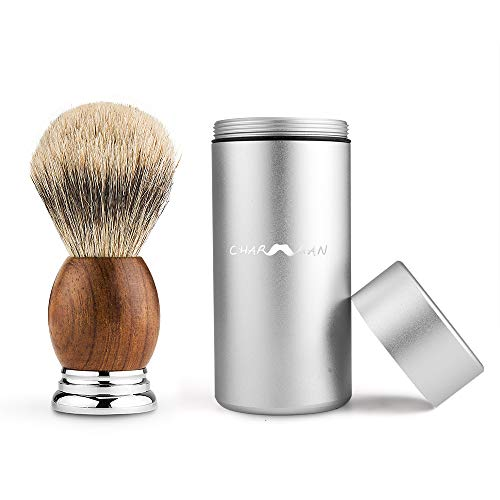 CHARMMAN Badger Bristle Shaving Brush with Strong Aluminium Travel Tube, Natural Pear Wooden Handle + Heavy Duty Alloy Base