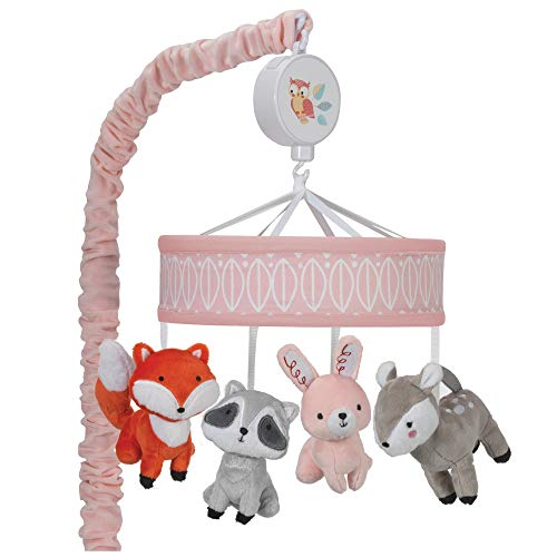 Lambs & Ivy Little Woodland Forest Animals Musical Mobile, Pink/White