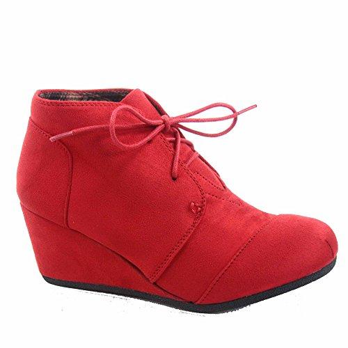 Voor Altijd Link Patricia-1 Dames Casual Oxford Enkellaarsjes Lace Up Lage Wedge Schoenen Rood