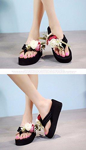 LIUXINDA-XZ Nuevos Productos de Moda española Zapatillas, Flip Flops, Espesor de Suelo Zapatillas de Verano de Zapatillas para Mujeres Azul