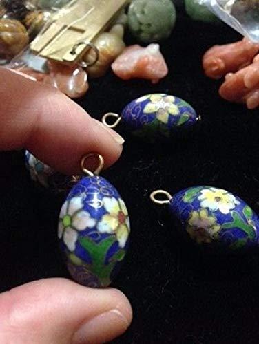 Design Ideas - Pair of Vintage Chinese Enamel Cloisonne Cobalt Blue Bead w/Beautiful Flowers