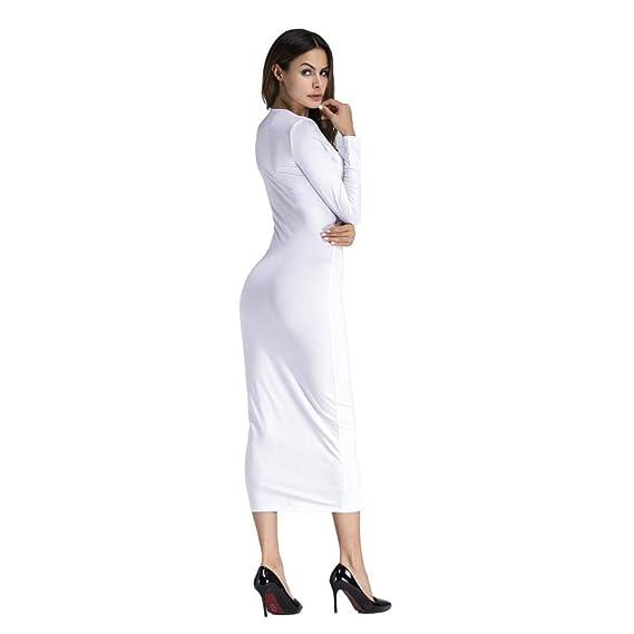 BBestseller-Vestidos Fiesta Vestir Ropa Falda Mujer Otoño Largo Bodycon Sexy de Manga Larga o Cuello Sexy Clubwear Noche de Las Mujeres Vestido de Playa: ...