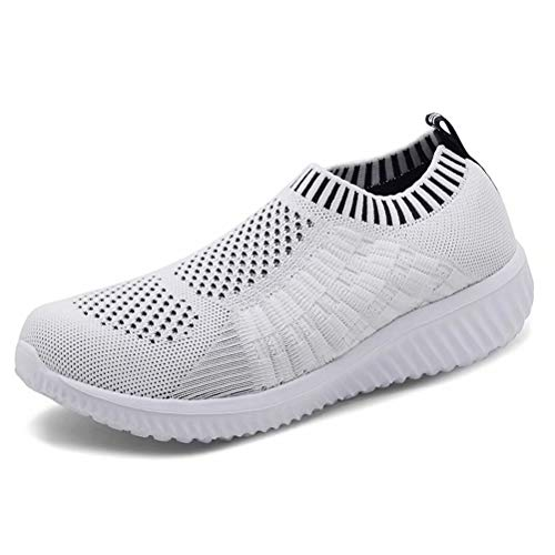 tweight Casual Walking Athletic Shoes Breathable Mesh Work Slip-on Sneakers, White,39 ()