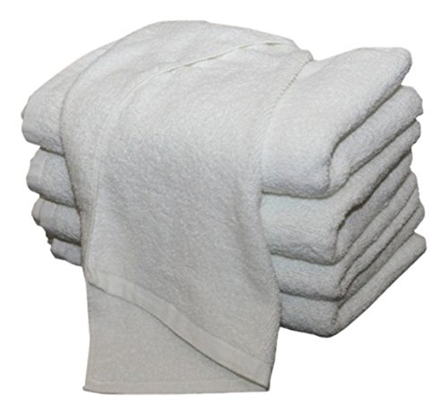American Terry Mills 100% Cotton Premium Ring Spun Salon Towels Gym Hand Towel, Maximum Softness, Absorbency and Durability, 3.20 lbs./Dozen, White, 12 Piece